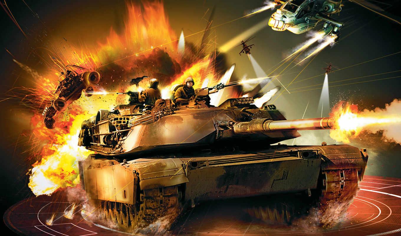танк, огонь, вертолет, багги,