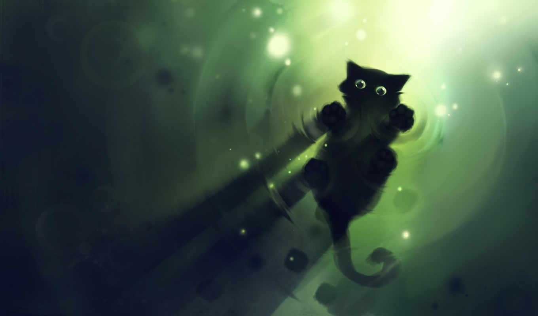 коты, рисованные, кот, black, они,