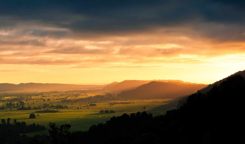 восход, amanecer, fondos, поля, гора, montañas, trees, campos, abstract, rboles, design,