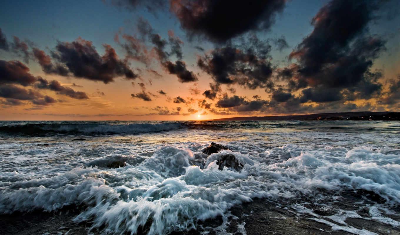 прекрасными, природы, уголками, шторм, море, природа, закат, волны, изображение, небо,