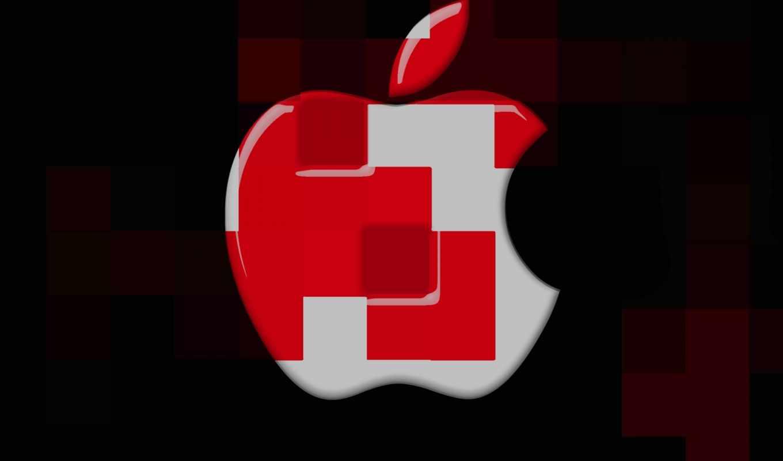apple, logo, cubes, desktop, mac, red