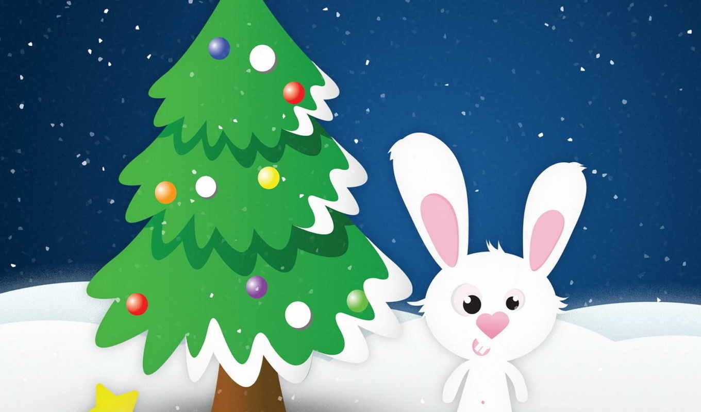 заяц, год, кролик, новый, елка, снег, звезда,