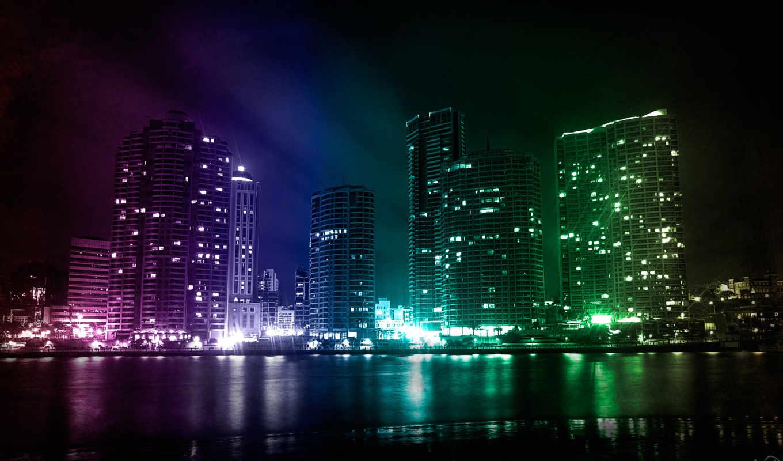 город, ночь, огни, река, города, категория, разное, совершенно,