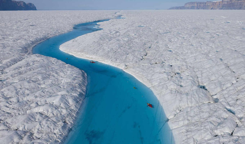 река, голубая, ледник, петерманн, гренландия, гренландии, river, является, полярной, посещение, hd, экспедиции, тает, природа, дек,