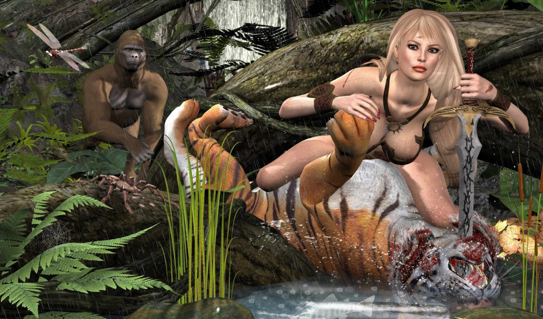 fantasy, тигр, девушка, обезяна, графика,