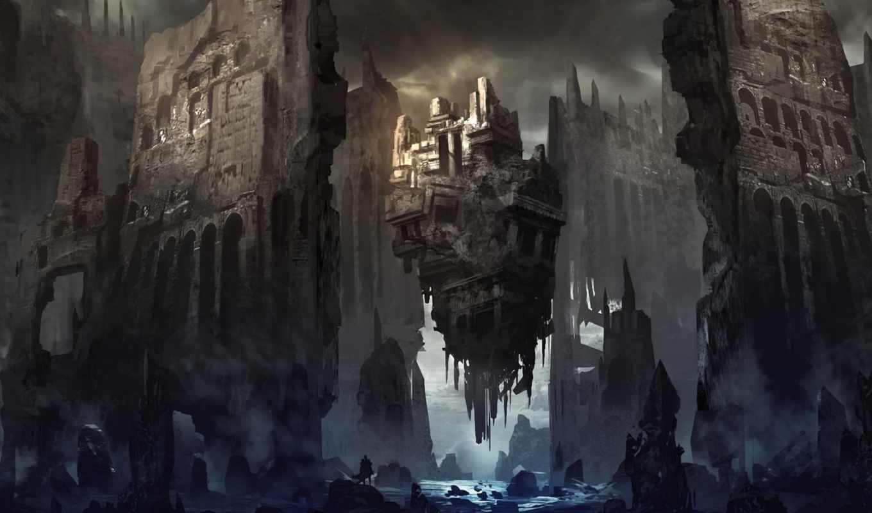 замок, art, fortress, скалы, мужчина, развалины, река,