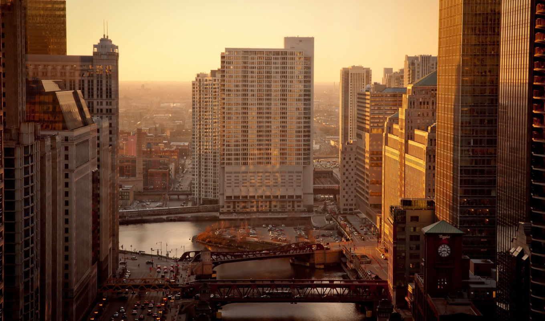 город, утро, chicago, usa, река, дома,