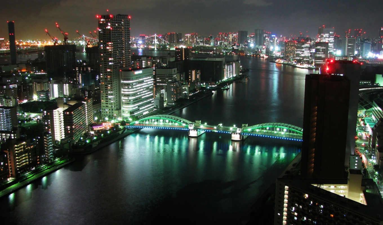 tokyo, parede, панорама, papel, города, oblaka, free, fundo,
