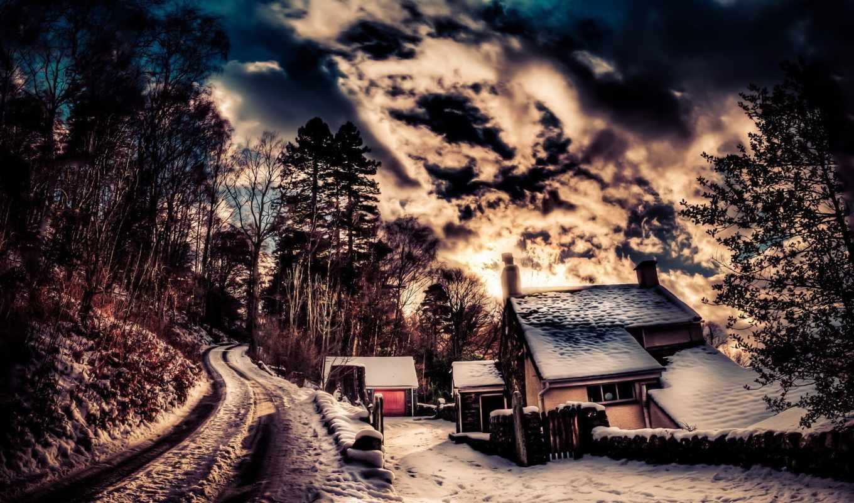 trees, winter, нас, небо, дорога, картинок, hdr,