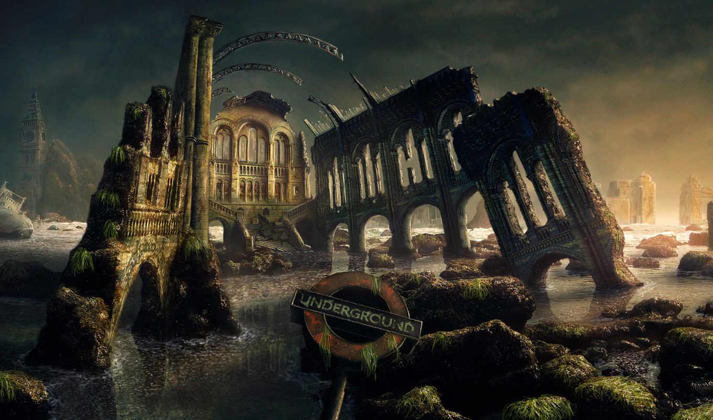 разруха, castle, water, взгляд,