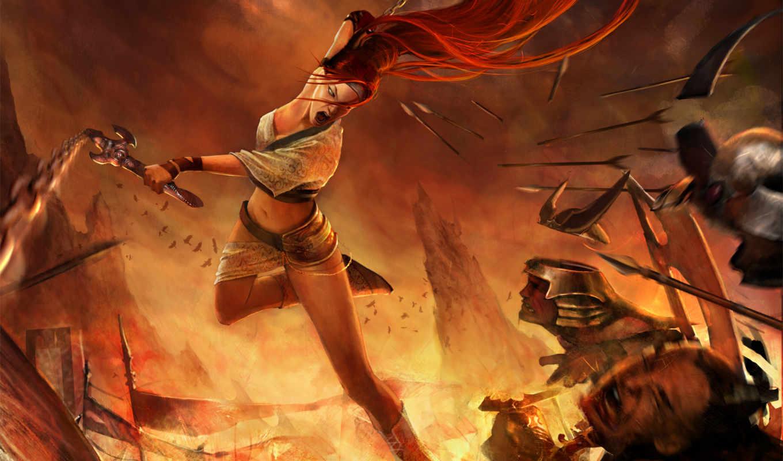 воин, женщина, меч, heavenly, девушка, nariko, огонь, оружие, горы,