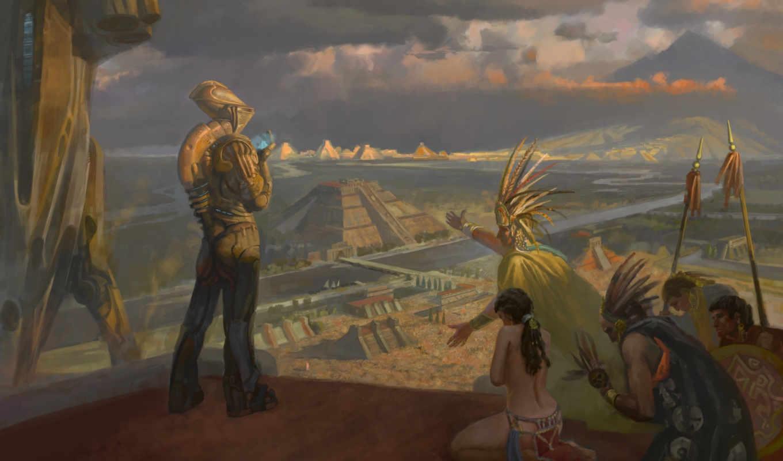 ацтеки, индейцы, пришелец, картина, фэнтези, иные, изображение,