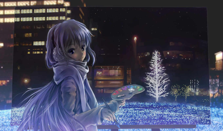 picture, anime, night, brush, paints, tags, artist, категории, totuka,