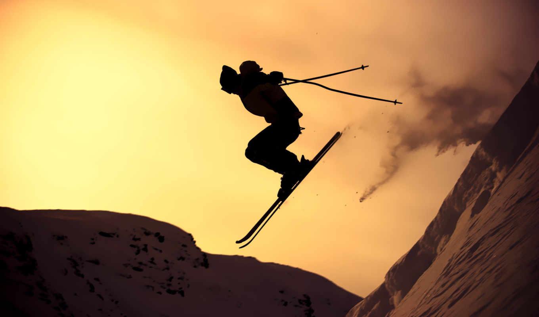 лыжи, спорт, горные, горы, солнце, парень, зима, склон, снег,