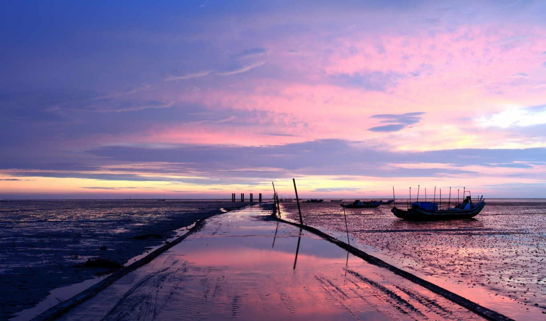 природа, закат, landscape, море, моря, pier, one, океаны, метки, лодки,