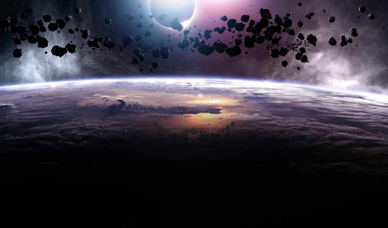 планета, астероиды, wallpaper, asteroids, space, eclipse, метеориты, космос, resolution,
