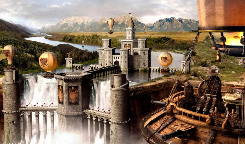 fantasy, стр, замок, фантастика, шар, города, воздушный, горы, город, art, река, вода, люди, dave, фэнтези, digital, ipad, игры, scenery, brinda,
