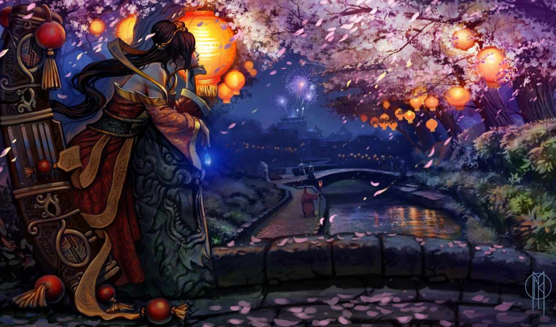 Сакура, мост, девушка, фонари, фейерверк, арт, праздник, вечер, картинка, вертикали, горизонтали, sona, league, имеет, фонарики, кимоно, цветение,