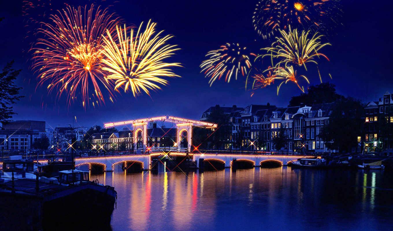 салют, fireworks, праздник, ночь, town, отражение, река,