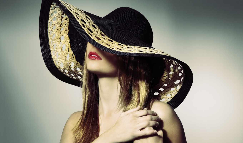 шляпе, женщина, растровый, девушка, клипарт, фотосток, от, devushka,