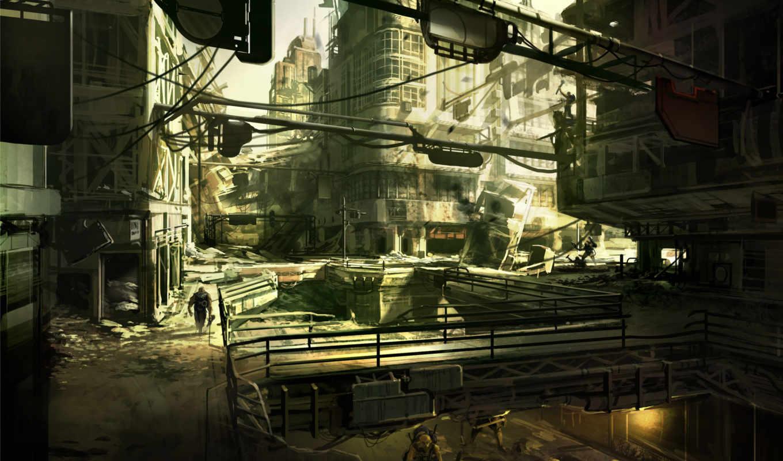 развалины, город, рисунок,