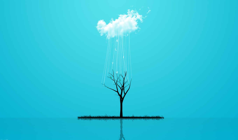 ,облако, дерево, голубой, вода,