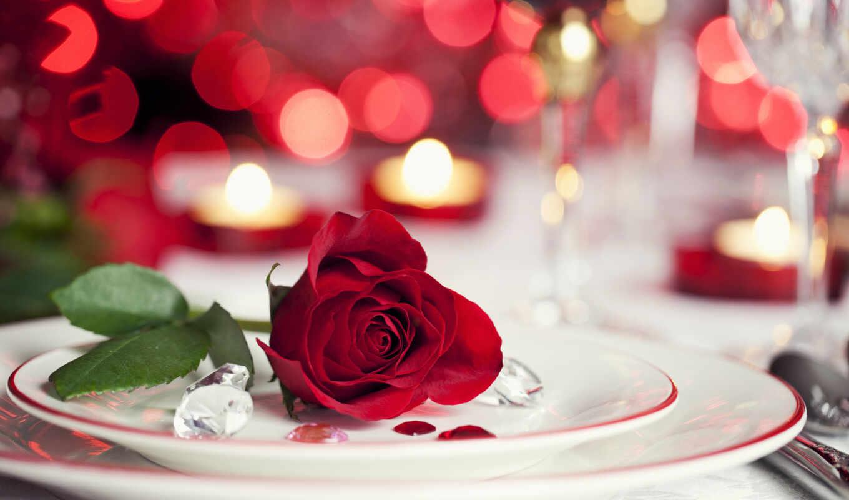 цветы, красивые, розы, свечи, цветов,