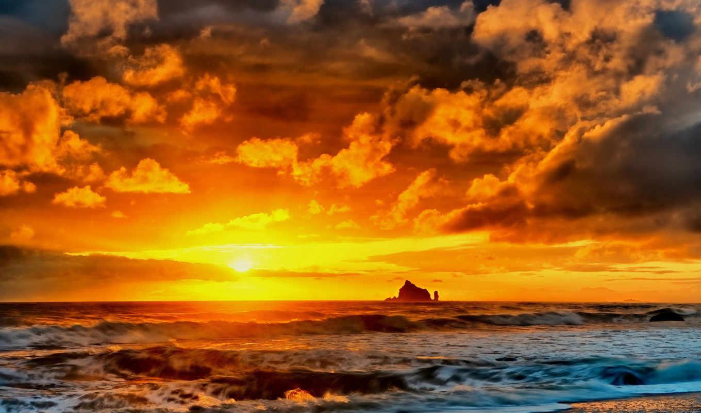 закат, пляж, море, скалы, природа, ocean, summer, небо,
