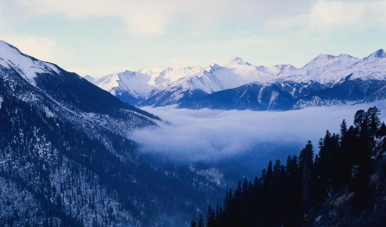 winter, горы, time, заснеженные, landscape, пейзажи -, банка, года, гора, зимой,