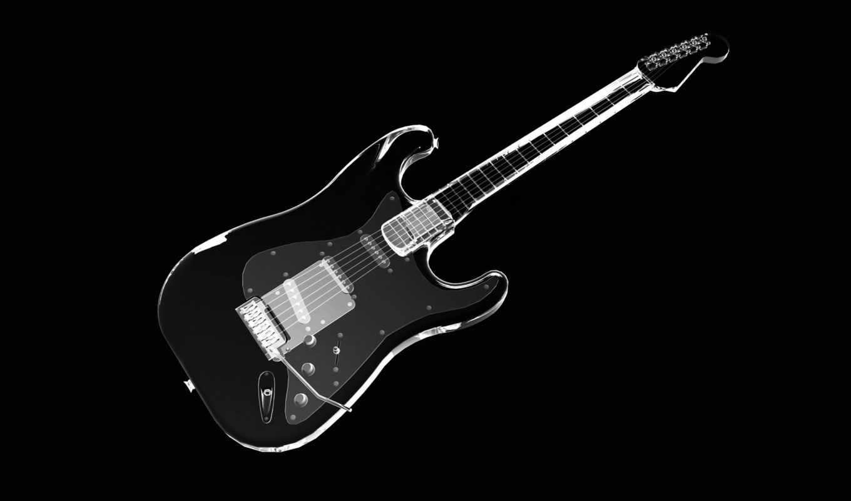 черном, fone, гитара, дек, black,
