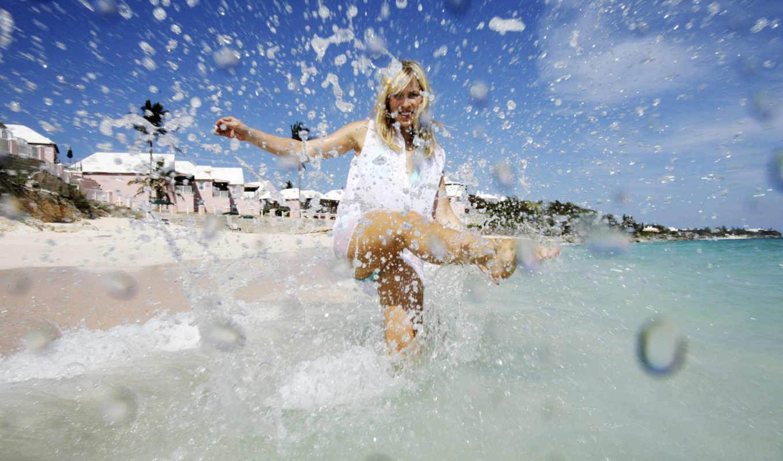 natasha, bedingfield, spalsh, von, water, women, splash, summer, beach, desktop, заставки, haarschnitt, ai,