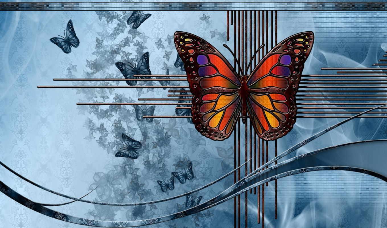 абстракция, графика, рисунок, бабочка,