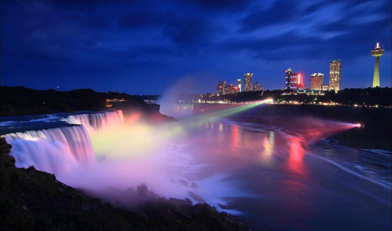 ночь, города, niagara, falls, канада, pour, водопад,