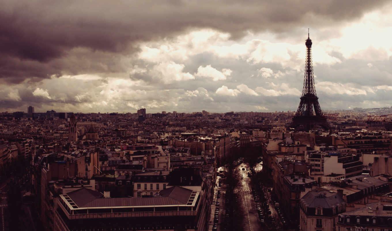 париж, эйфелева, взгляд, башня, франция,