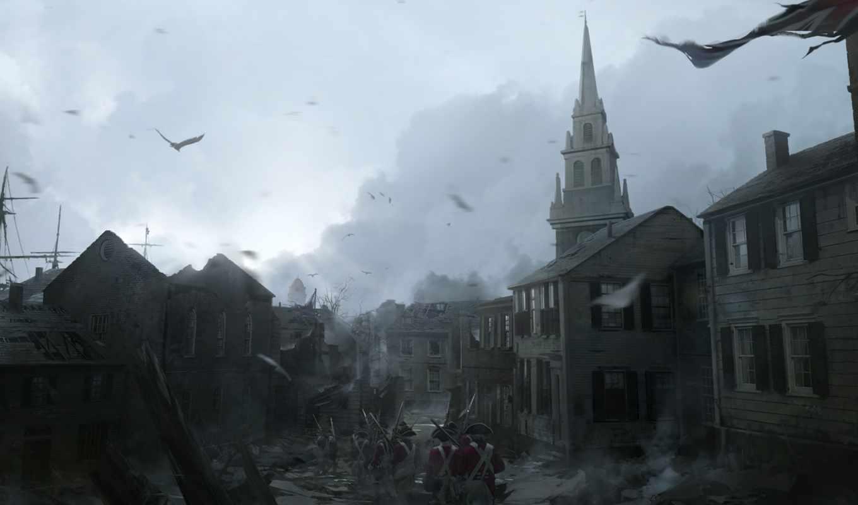 creed, assassin, art, город, орлан, iii, мар, winter, города,
