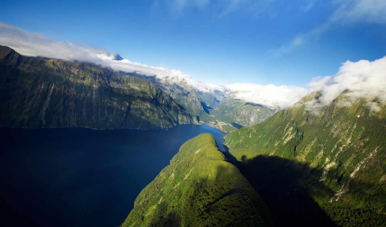 новая, zealand, горы, fjord, new, природа, озеро,