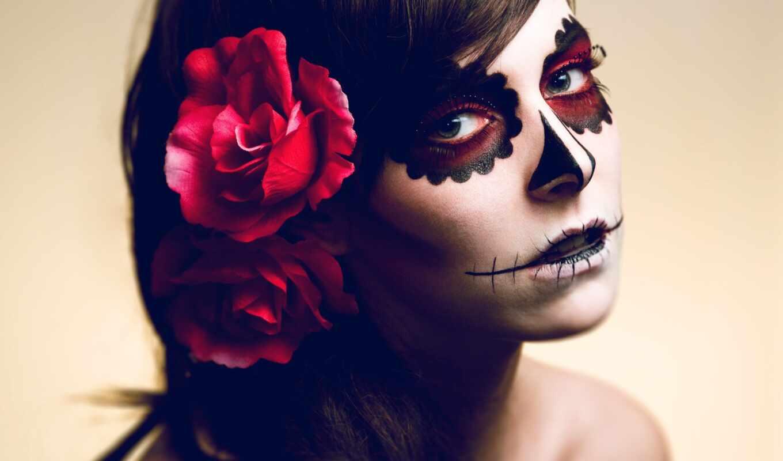 макияж, сант, halloween, muert, идея, изображение, смерть, глаза, мексиканский, череп