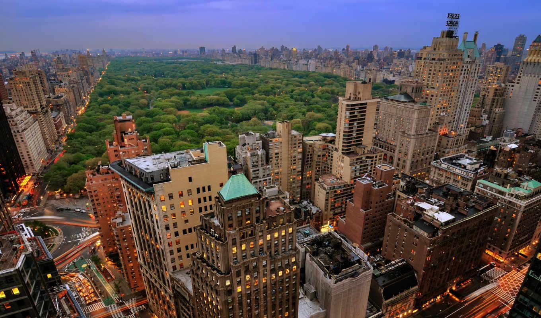 парк, нью, йорк, центральный, new, сверху, вид, город,