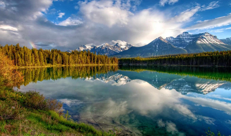отражение, горы, облака, озеро, небо, лес, радуга, картинка, деревья, nature,