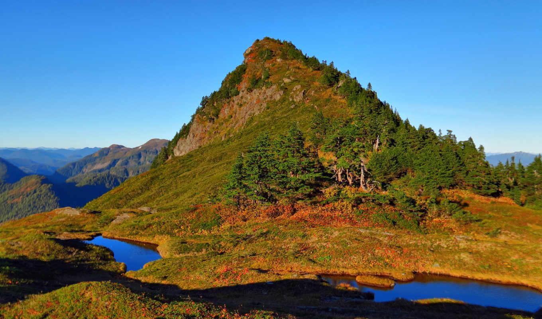 вода, холм, деревья, озера, гора, природа, лужи, natural,