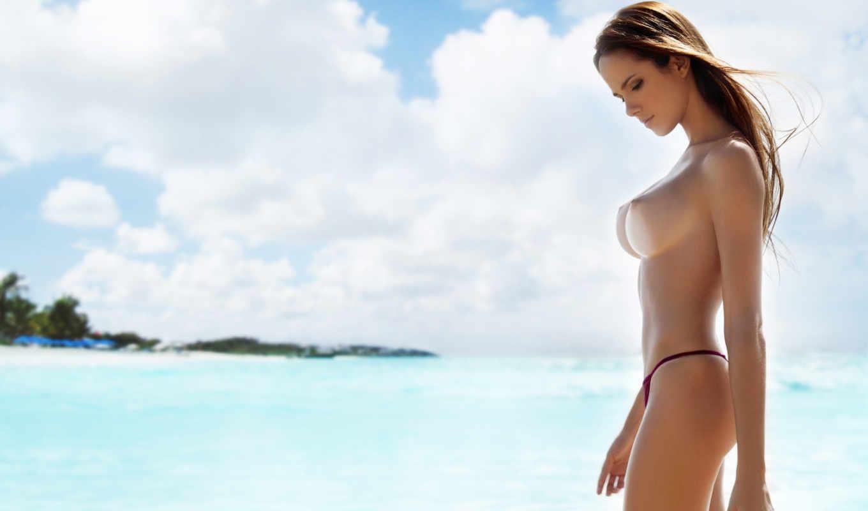 топлес, девушка, тело, лицо, roberta, murgo, грудь, пляж, шатенка, стринги, море, облака, небо,