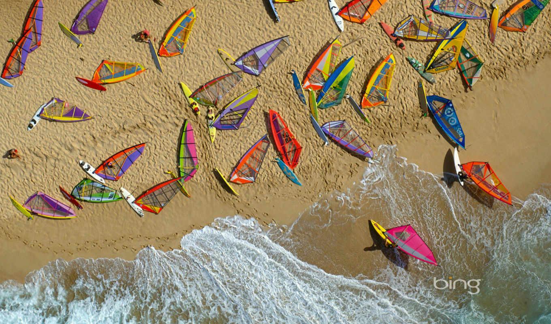 пляж, море, волны, песок, hawaii, базе, нов, качестве,