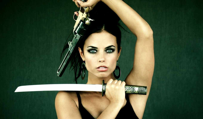 девушка, оружием, devushki, оружие, пистолетом, hot, пистолет, меч,