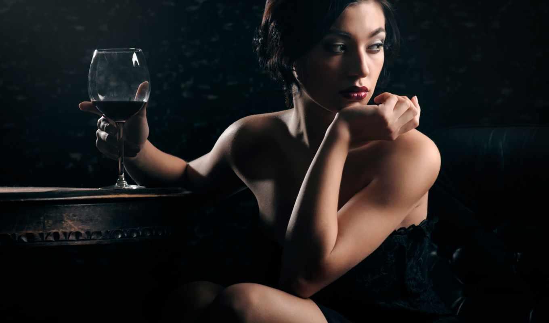 девушка, вина, glass, мечты, макияж, аватар, бокалом, сидит, devushki, полумраке,