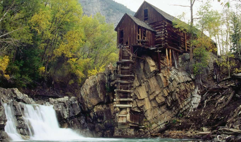 водопада, house, горах, lodge, mill, crystal, новости, природы, webshots,
