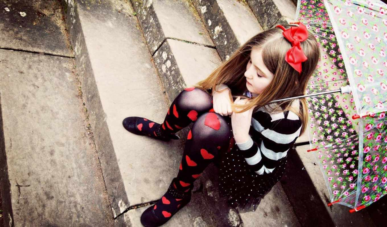 sad, girl, love, little, обои, wallpapers, umbrell