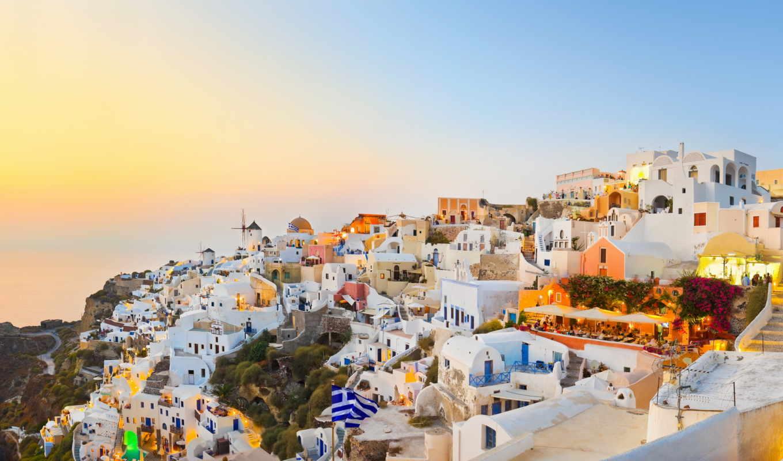 santorini, дома, пейзаж, море, greece, link, природа,