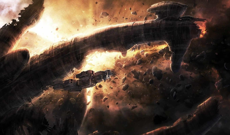 чужие, art, космос, корабль, остов, метеориты, alien,