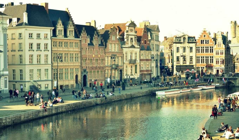 gent, город, бельгия, здания, дома, water, отражение,