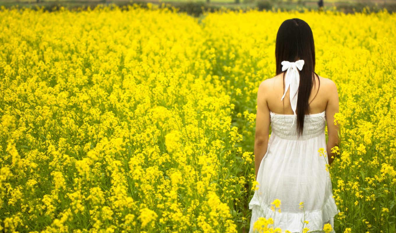девушка, поле, цветов, among, жёлтых, разных, настроения, цветы,